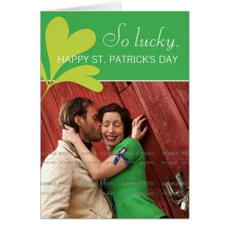 Happy St Patricks Day Lucky Shamrock Green Photo Card