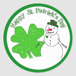 Happy St Patrick's Day Lucky Snowman Classic Round Sticker