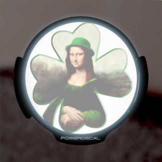 Happy St Patrick's Day Mona Lisa Shamrock LED Window Decal