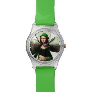 Happy St Patrick's Day Mona Lisa Wristwatch