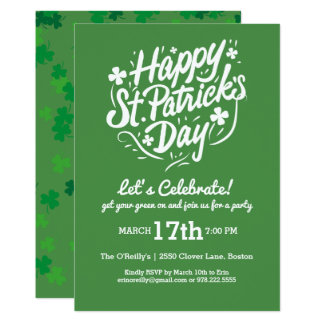 Happy St Patricks Day Party Lucky Shamrock Clovers Card