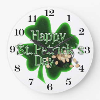 Happy St Patrick's Day - Pot Of Gold Large Clock