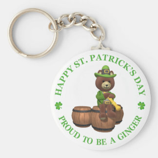 Happy St Patrick's Day - Proud to be a Ginger Basic Round Button Keychain