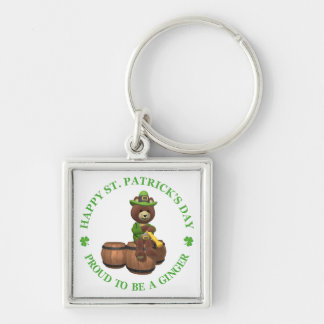 Happy St Patrick's Day - Proud to be a Ginger Silver-Colored Square Keychain