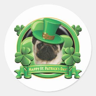 Happy St Patricks Day Pug Classic Round Sticker