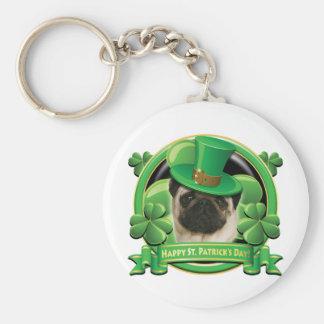 Happy St Patricks Day Pug Keychain