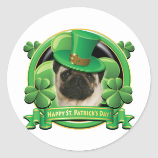 Happy St Patricks Day Pug Sticker