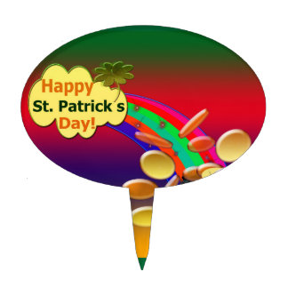 Happy St. Patrick's Day Rainbow Cake Topper