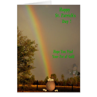 Happy St. Patrick's Day - Rainbow, Pot o Gold Card
