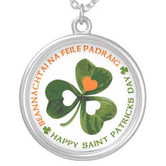 Happy St. Patrick's Day Round Pendant Necklace