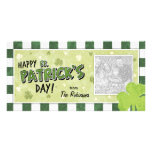 Happy St. Patrick's Day - Shamrock and Gingham Photo Card Template