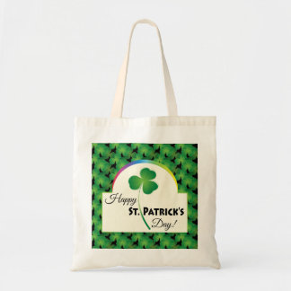 Happy St. Patrick's Day, Shamrock and Rainbow Tote Bag