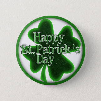 Happy St. Patricks Day Shamrock Button