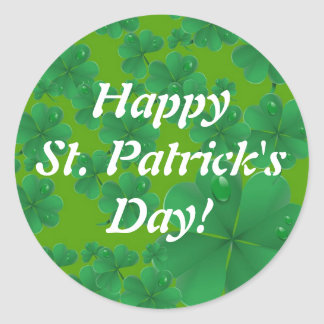 Happy St. Patrick's Day Shamrock Classic Round Sticker