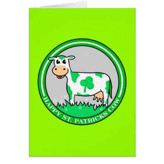 Happy St. Patrick's Day Shamrock Cow Card