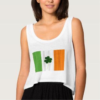 Happy St. Patrick's Day! Shamrock Irish Flag Eire Flowy Crop Tank Top