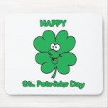 Happy St Patricks Day Shamrock Smilie Mouse Mats