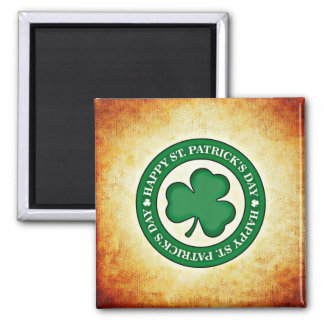 Happy St. Patrick's Day Shamrock Square Magnet