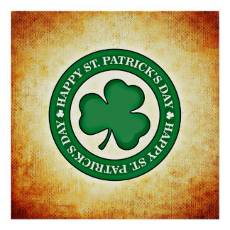 Happy St. Patrick's Day Shamrock Square Poster