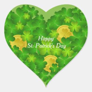 Happy St. Patrick's Day Shamrocks Heart Sticker