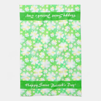 Happy St Patrick's Day Shamrocks Retro Watercolor Hand Towel