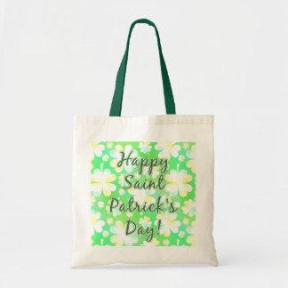 Happy St Patrick's Day Shamrocks Retro Watercolor Tote Bag