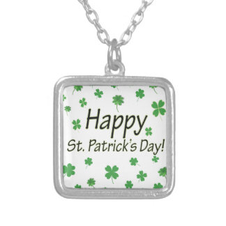 Happy St Patricks Day Silver Plated Necklace