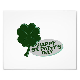 happy st patricks day single clover.png photo print