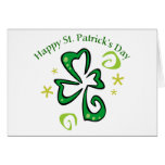 Happy St. Patrick's Day Swirly Shamrock Gifts, Tee Greeting Cards