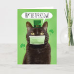 Happy St. Patrick's Day Talking Cat in Face Mask Holiday Card