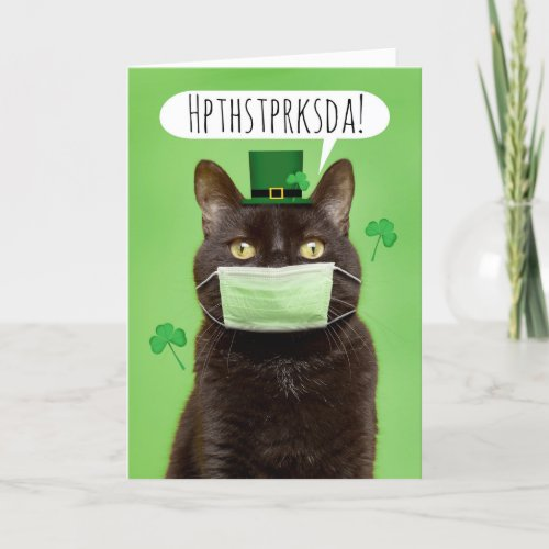Happy St Patricks Day Talking Cat in Face Mask Holiday Card