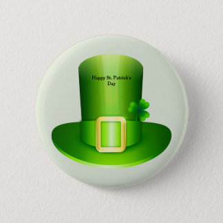 Happy St, Patrick's Day text and hat Pinback Button