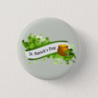 Happy St. Patrick's Day text and pot of gold Button