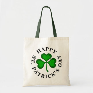 HAPPY ST. PATRICK'S DAY Text with green Shamrock Tote Bag