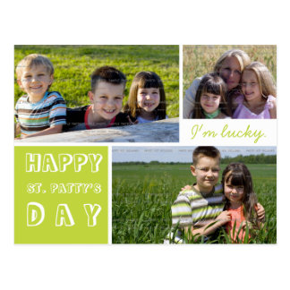 Happy St Patricks Day Three Photos Green White Postcard