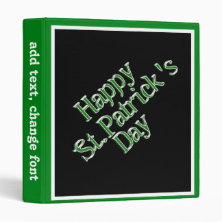 Happy St. Patricks Day Tilted Text Image Vinyl Binder