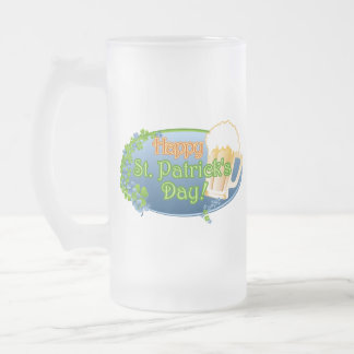 Happy St Patricks Day! (Ver 1) Frosted Glass Beer Mug