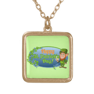Happy St. Patrick's Day (Ver 2) Gold Plated Necklace