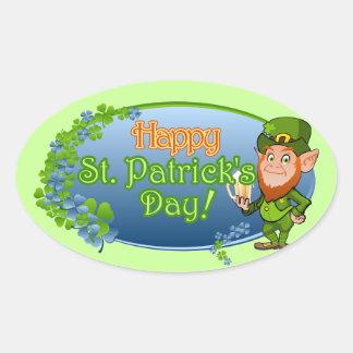 Happy St. Patrick's Day (Ver 2) Oval Sticker