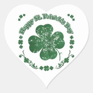 Happy St. Patrick's Day - vintage style Heart Sticker