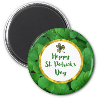 Happy St. Patrick's Day with Green Clovers Magnet
