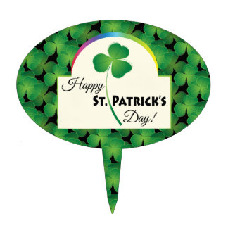Happy St. Patrick's Day with shamrock Cake Toppers