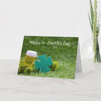 Happy St Patrick's Day with Shamrock Clover leaf Holiday Card