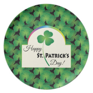 Happy St. Patrick's Day with shamrock Melamine Plate