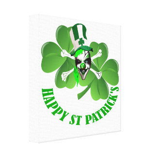 Happy St Patrick's scary clown Stretched Canvas Print