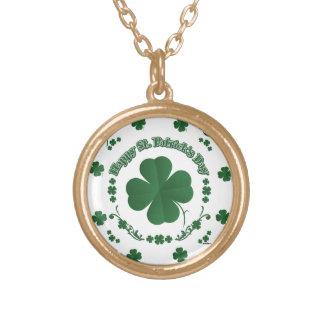 Happy St Patrick's Shamrocks Round Pendant Necklace