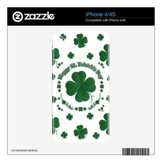 Happy St Patrick's Shamrocks iPhone 4S Skins