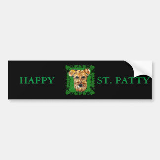 HAPPY ST. PATTY AIREDALE CAR BUMPER STICKER