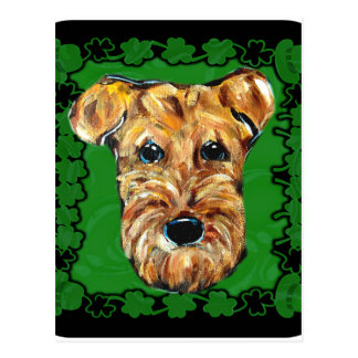 HAPPY ST. PATTY AIREDALE POSTCARD