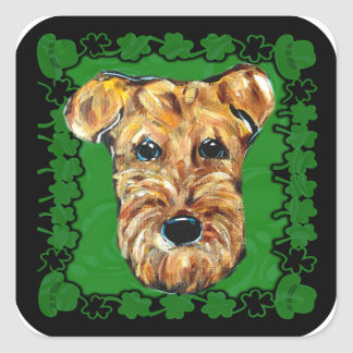 HAPPY ST. PATTY AIREDALE SQUARE STICKER